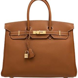 Hermès 35cm Gold Togo Leather Birkin Bag with Gold Hardware F Square