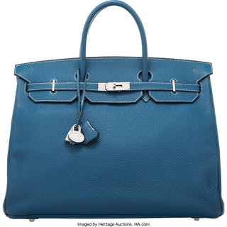 Hermès 40cm Blue Thalassa Togo Leather HAC Birkin Bag with Palladium