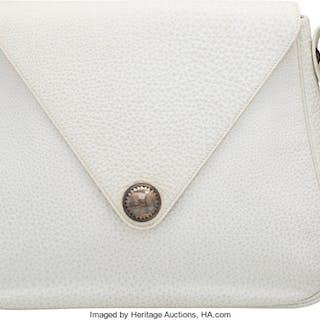 Hermès White Fjord Touareg Christine Bag with Palladium Hardware E
