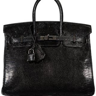 Hermès 25cm Black Lizard Birkin Bag with Palladium Hardware K Square