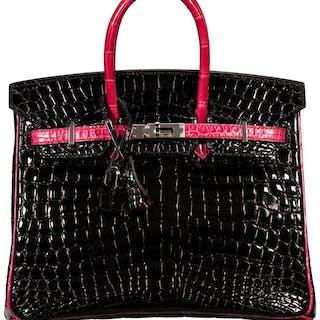 Hermès Special Order Horseshoe 25cm Black & Fuchsia Nilo Crocodile