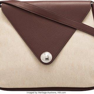 Hermès Havane Clemence Leather & Toile Christine Bag with Palladium