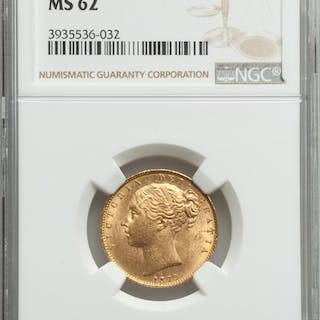 Victoria gold Sovereign 1870 MS62 NGC,...