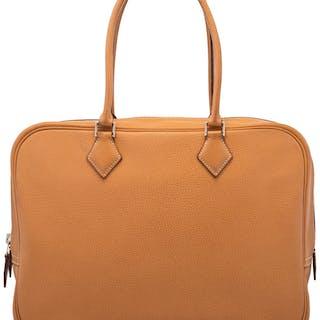 Hermès 32cm Natural Courchevel Leather Plume Bag with Palladium Hardware