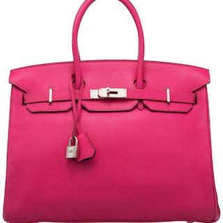 Hermès Special Order Horseshoe 35cm Rose Shocking & Anemone Chevre