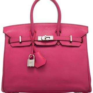 Hermès 25cm Rose Tyrien Chevre Leather Birkin Bag with Palladium Hardware