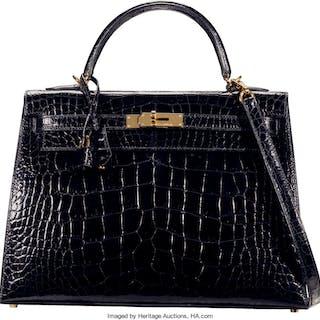 Hermès 32cm Shiny Black Alligator Sellier Kelly Bag with Gold Hardware