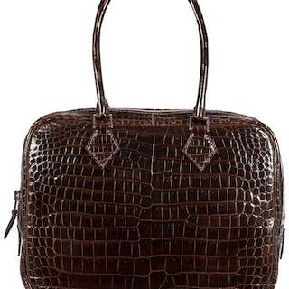 Hermès 28cm Chocolate Porosus Crocodile Plume Bag with Palladium Hardware