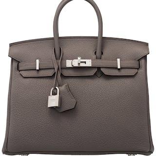 Hermès 25cm Etain Togo Leather Birkin Bag with Palladium Hardware