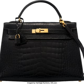 Hermès 32cm Black Alligator Sellier Kelly Bag with Gold Hardware V