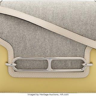 Hermès 23cm Jaune Poussin Evercolor Leather & Toile Roulis Bag with