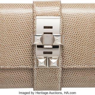 Hermès 23cm Ficelle Niloticus Lizard Medor Clutch with Palladium Hardware