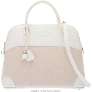Hermès 37cm White Evercolor Leather & Ecru Toile Bolide Bag with Palladium