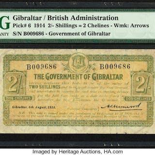 Gibraltar Government of Gibraltar 2 Shillings = 2 Chelines 6.8.1914