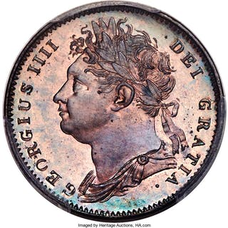 George IV Proof Farthing 1822 PR64 Red and Brown PCGS,...