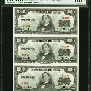 Cuba Republica de Cuba 1000 Pesos 1944 Pick 76as1 Uncut Sheet of 3