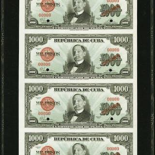 Cuba Republica de Cuba 1000 Pesos 1945 Pick 76b Uncut Sheet of 4 Specimen