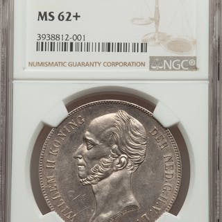 Willem II 2-1/2 Gulden 1842 MS62+ NGC,...