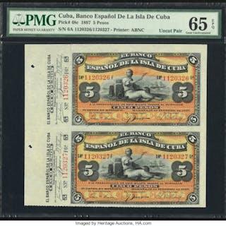 Cuba Banco Espanol De La Isla De Cuba 5 Pesos 15.2.1897 Pick 48c Uncut