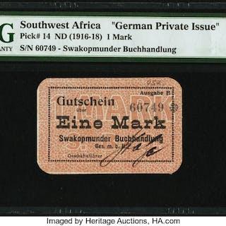 German Southwest Africa Swakopmunder Buchhandlung 1 Mark ND (1916-18)