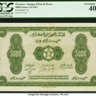 Morocco Banque d'Etat du Maroc 5000 Francs 1.8.1943 Pick 32 PCGS Extremely