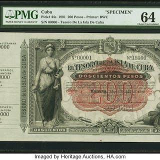 Cuba El Tesoro De La Isla De Cuba 200 Pesos 1891 Pick 44s Specimen