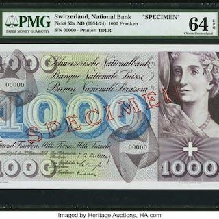 Switzerland National Bank 1000 Franken ND (1954-74) Pick 52s Specimen