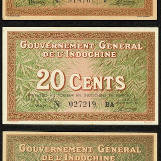 French Indochina Banque de l'Indo-Chine Lot of 13 Small Change Issue