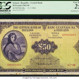 Ireland Central Bank of Ireland 50 Pounds 11.7.1966 Pick 68a PCGS