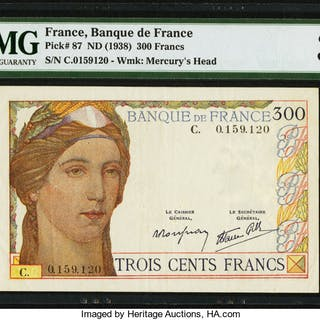 France Banque de France 300 Francs ND (1938) Pick 87 PMG Very Fine 30. ...