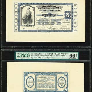 Colombia Banco Industrial 5 Pesos 1918 (ND 1923) Pick S553p1; S556p2