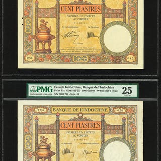 French Indochina Banque de l'Indo-Chine 100 Piastres ND (1927-31);