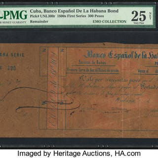 Cuba Banco Espanola de la Habana 300 Pesos 1800's Pick Unlisted Bond