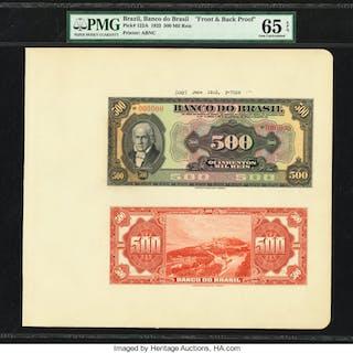 Brazil Banco do Brasil 500 Mil Reis 1923 Pick 122A Front and Back