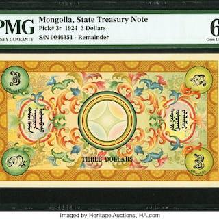 Mongolia State Treasury Note 3 Dollars 1924 Pick 3r Remainder PMG