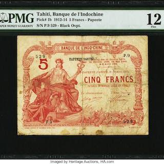 Tahiti Banque de l'Indochine 5 Francs 13.3.1914 PMG Fine 12. ...