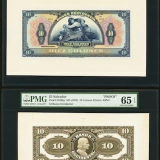 El Salvador Banco Occidental 10 Colones ND (1925) Pick S196fp; S196bp