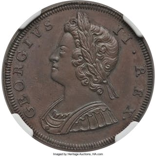 George II copper Proof 1/2 Penny 1729 PR63 Brown NGC,...