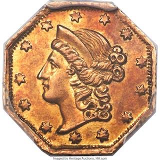 Undated Liberty Octagonal 1 Dollar, BG-501, Low R.5