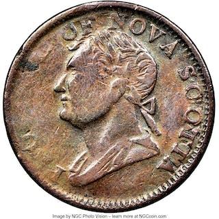 "Nova Scotia. George IV Contemporary Counterfeit ""Thistle"" 1/2 Penny"