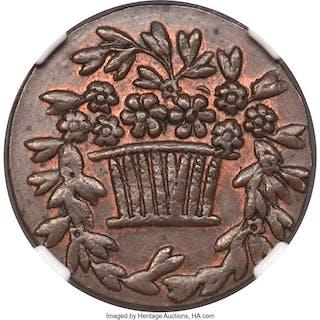 """Dutch Colony. Willem III copper Pattern """"Basket"""" Duit ND (1836) MS63"""