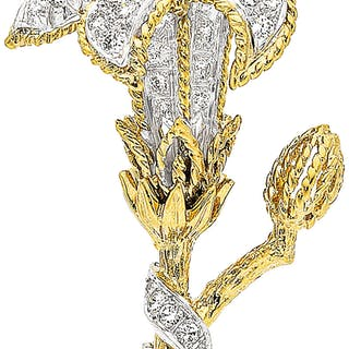 Diamond, Platinum, Gold Brooch ...