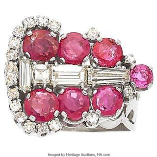 Ruby, Diamond, Platinum Ring  ...