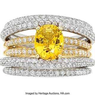 Yellow Sapphire, Diamond, Gold Ring  ...