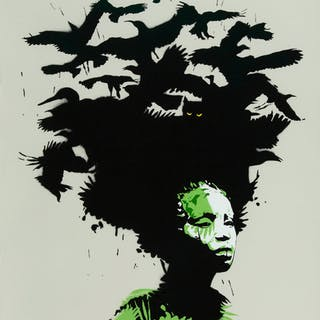 Eelus (b. 1979) Raven Haired (Gambia Edition), 2011 Screenprint in