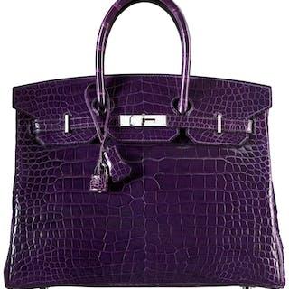 Hermès 35cm Shiny Amethyst Porosus Crocodile Birkin Bag with Palladium