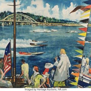 Millard Sheets (American, 1907-1989) Speedboats, Seafair Trophy Race