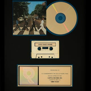 The Beatles Abbey Road RIAA R Hologram Cassette and CD Gold Sales Award....