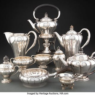A Married Ten-Piece Georg Jensen No. 3 Silver and Ebony Coffee and