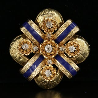 Antique Renaissance Revival 18K Yellow Gold Diamond and Enamel Brooch